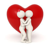 3d lovers kissing. 3d couple kissing and hugging each other in front of a big heart - Isolated vector illustration