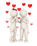 3d lovers talking. Something about love - Rising hearts with motion blur - Isolated vector illustration