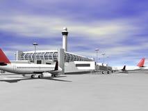 3D luchthaven zijaanzicht Stock Foto's
