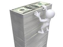 3D Ludzki obwieszenie na pieniądze ścianie Fotografia Royalty Free