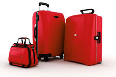 3d luggage on white Stock Images