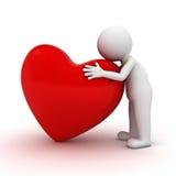 3d mężczyzna przytulenia czerwieni serce Obrazy Stock
