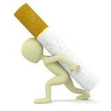 3d mała osoba niesie ciężkiego papieros. ilustracja wektor