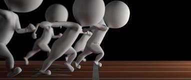 3d mały mężczyzna wygrywa bieg rasy na czarny tle Zdjęcie Stock
