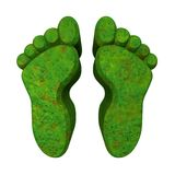 3d made - foot prints in green grass Stock Photo