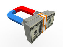 3d magnet and money Royalty Free Stock Photo