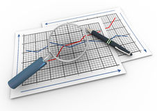 3d magnifier and graph. 3d render of pen and magnifying glass hovers over business graph papers Royalty Free Stock Images