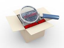 3d magnifier i wewnętrznej rewizi wordcloud pudełko Obrazy Stock