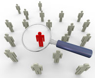 3d magnifier and people. 3d magnifying glass searching people. Concept of searching people or employee Stock Photo