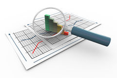 3d magnifier and progress bars. 3d magnifying glass hovers over progress bars on graph paper Royalty Free Stock Photos