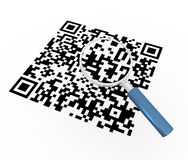 3d magnifier and qr code Stock Photos