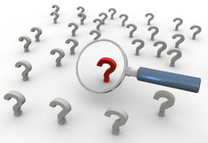 3d magnifier and red question mark Stock Images
