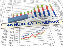 3d magnifier and sales report. 3d magnifying glass focus on annual sales report Stock Photography