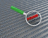3d magnifier searching binary data Stock Photos