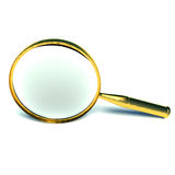 3d magnifying glass. Set in gold Royalty Free Stock Photo