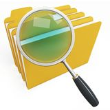 3d magnifying glass over yellow folders Royalty Free Stock Photo