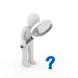 3d magnifying glass question mark blue. 3d man magnifying glass question mark blue search Stock Photo