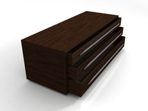 3D Mahogany Storage Cabinet Royalty Free Stock Image