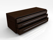 3D Mahogany Storage Cabinet. 3D rendered image of a storage cabinet made out of mahogany wood Stock Photo