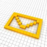 3d mail envelope icon in grid Stock Photos