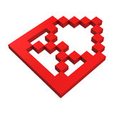 3d mail pixel icon. Red illustration Royalty Free Stock Image