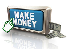 3d make money button Royalty Free Stock Images