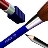 3D Makeup Design. Original 3D abstract graphic design of makeup items lipstick, brush, and pencil.  Isolated against a white background Royalty Free Stock Images
