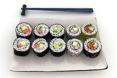 3d maki sushi plate Royalty Free Stock Photo