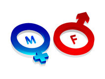 3d male and female symbol. Isolated on white background Stock Images