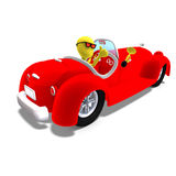 3d male icon toon character driving a huge car Stock Photo