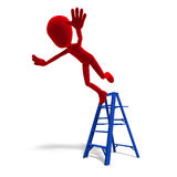 3d male icon toon character falls from the ladder Royalty Free Stock Images