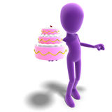 3d male icon toon character presents a huge cake. To you. 3D rendering with clipping path and shadow over white Royalty Free Stock Photo