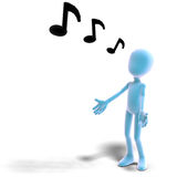3d male icon toon character sings out loud Stock Images