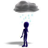 3d male icon toon character standing in the rain Royalty Free Stock Photos