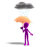 3d male icon toon character standing in the rain Royalty Free Stock Photo
