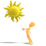 3d male icon toon character standing in the sun Stock Photo