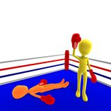 3d male icon toon character wins the boxfight Stock Photography