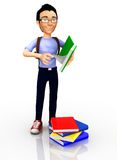 3D Male student Royalty Free Stock Image