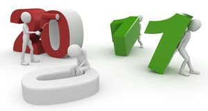 3d man with 2011 numbers Royalty Free Stock Photos