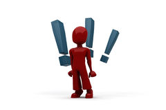 3d man with 3 big exclamation mark behind him Royalty Free Stock Images