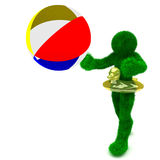 3D Man And Beach Ball Isolated On White. Stock Photography
