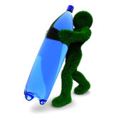 3D Man And Bottle Isolated On White. Royalty Free Stock Images