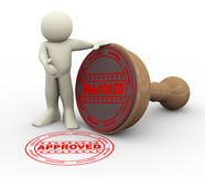 3d man and approved rubber stamp Stock Photo