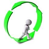 3d man on arrow circle arrow. Isolated on white Stock Photos