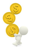 3D man balancing three coins Stock Photography