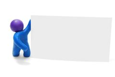 3D Man with Balnk Card. 3D Plasticine Person with Blank Advertisement Card Isolated on White Background Royalty Free Stock Photo