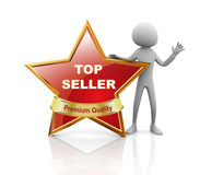 3d man with best seller. 3d man presentation of best seller medal Stock Photography