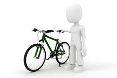 3d man and  bicycle studio render on white. 3d man and a bicycle studio render on white background Stock Photos
