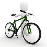 3d man and  bicycle studio render on white Royalty Free Stock Photos