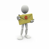 3d man with big envelope Stock Photos